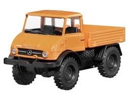 Unimog U 406, U 84/900 volledig stalen cabine, 1971-1989 1:32 oranje, pullback 1:43